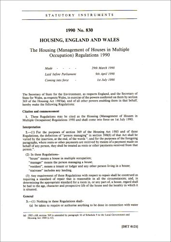 9780110038308: The Housing (Management of Houses in Multiple Occupation) Regulations 1990 (Statutory instruments: 1990)