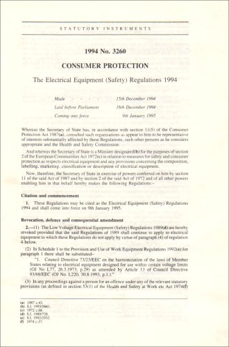 9780110439174: The Electrical Equipment (Safety) Regulations 1994: Consumer Protection (Statutory instruments: 1994: 3260)