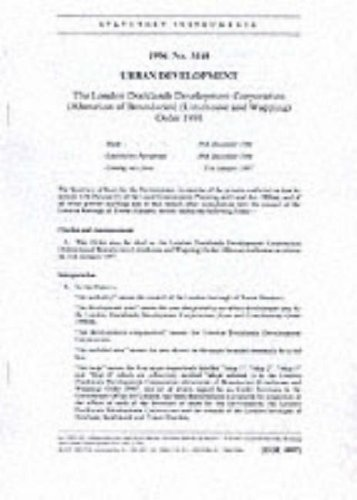 9780110634463: The London Docklands Development Corporation (Alteration of Boundaries) (Limehouse and Wapping) Order 1996: Urban Development (Statutory instruments: 1996: 3148)