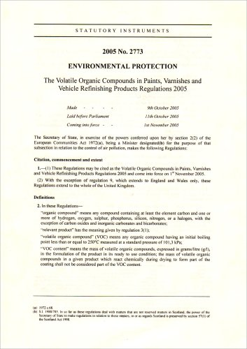 9780110734316: The Volatile Organic Compounds in Paint, Varnishes and Vehicle Refinishing Products Regulations 2005 (Statutory Instruments)