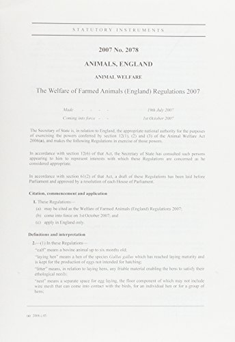 9780110779539: The Welfare of Farmed Animals (England) Regulations 2007: Statutory Instruments 2078 2007