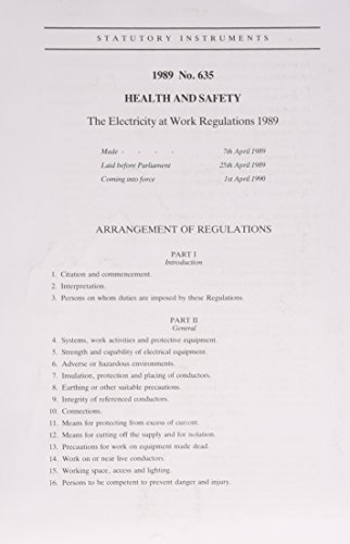 9780110966359: The Electricity at Work Regulations 1989: Health and Safety (Statutory instrument: 1989: 635)