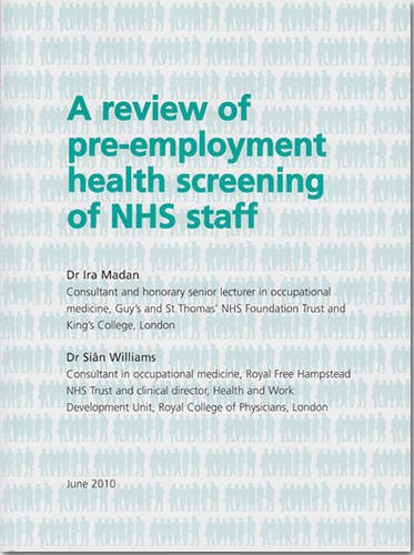 9780113228638: A review of pre-employment health screening of NHS staff