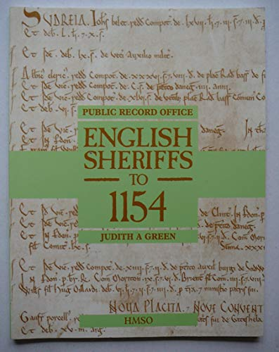 9780114402365: English Sheriffs to Eleven Fifty-Four (Public Record Office Handbooks)