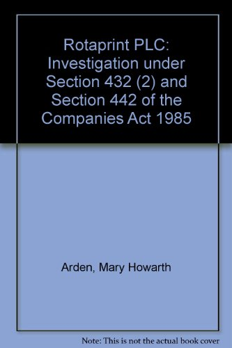 9780115152900: Rotaprint PLC: Investigation under Section 432 (2) and Section 442 of the Companies Act 1985