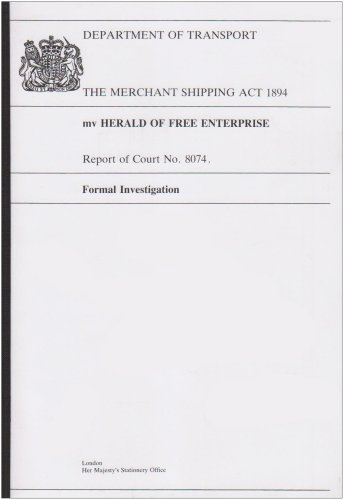 9780115508288: The Mv Herald of Free Enterprise: Report of Court No. 8074 (Merchant Shipping Act 1894 formal investigations Department of Transport)