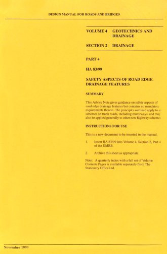 9780115522031: Design Manual for Roads & Bridges: Geotechnics and drainage section 2 drainage part 4 safety aspects of road edge drainage features