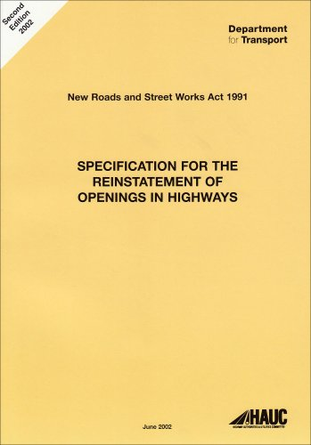 9780115525384: Specification for the Reinstatement of Openings in Highways: A Code of Practice