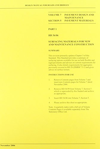 9780115528125: Design manual for roads and bridges: Vol. 7: Pavement design and maintenance, Section 5: Pavement materials [Surfacing and surfacing materials], Part ... and Maintenance - Pavement Materials v. 7