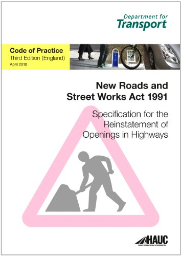 9780115531415: Specification for the Reinstatement of Openings in Highways April 2010: Code of Practice for England