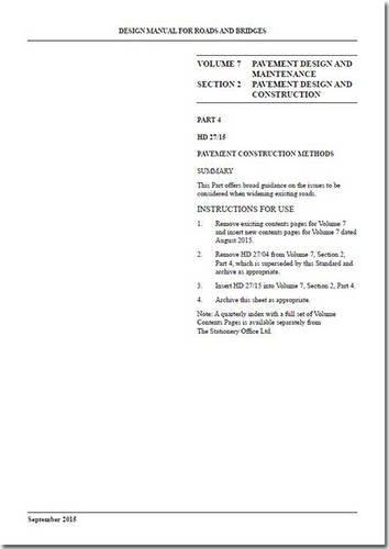 9780115534287: Design Manual for Roads and Bridges: Pavement Design and Maintenance Volume 7