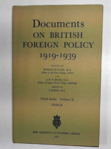 9780115915352: DOCUMENTS ON BRITISH FOREIGN POLICY, 1919-39: INDEX 3RD SERIES, V. 10