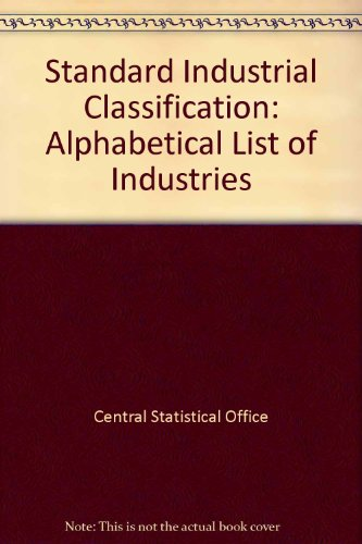 9780116300669: Standard Industrial Classification: Alphabetical List of Industries