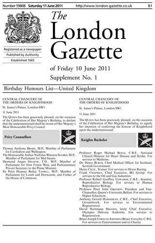9780116698087: The London Gazette Birthday Honours List Supplement