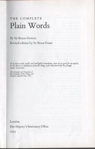 9780117003408: Complete Plain Words