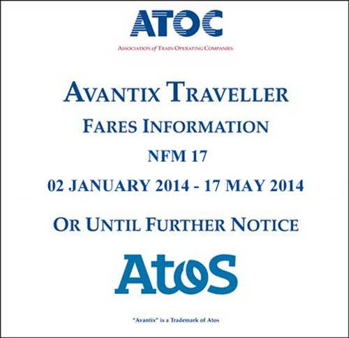 9780117082281: Avantix Traveller Fares Information NFM 17: 02 January 2014 - 17 May 2014 or Until Further Notice