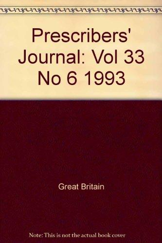 9780117292406: Prescribers' Journal: Vol 33 No 6 1993