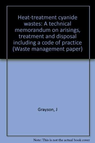 9780117518131: Heat-treatment cyanide wastes: A technical memorandum on arisings, treatment, and disposal including a code of practice (Waste management paper)