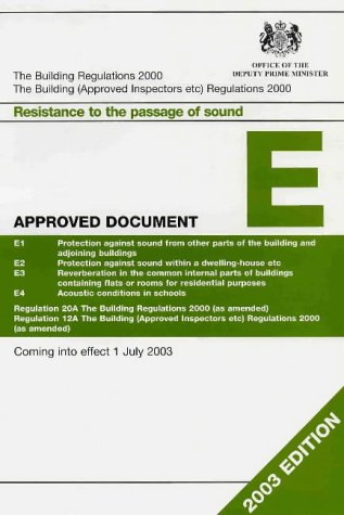 9780117536425: The Building Regulations 1991 Approved Document E Resistance to Passage of Sound