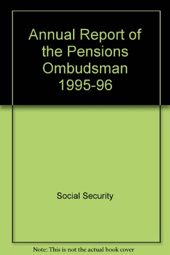 9780117623965: Annual Report of the Pensions Ombudsman 1995-96