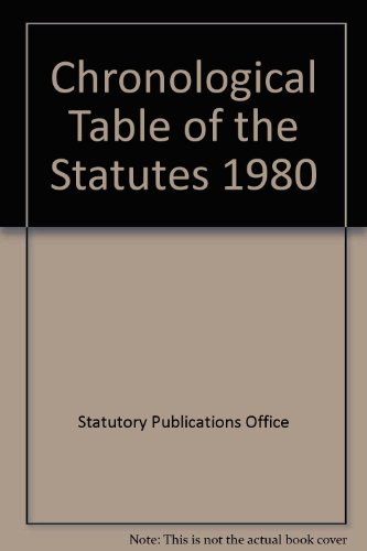 Chronological Table Of The Statutes Part 2 Covering The Period From 1936 To The End Of 1980