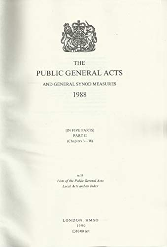 9780118402903: The Public General Acts and General Synod Measures 1988