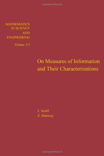 9780120437603: On measures of information and their characterizations, Volume 115 (Mathematics in Science and Engineering)