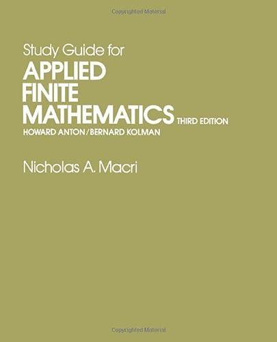9780120595709: Study Guide for Applied Finite Mathematics