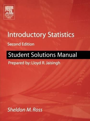 9780120885510: Student Solutions Manual for Introductory Statistics, Second Edition