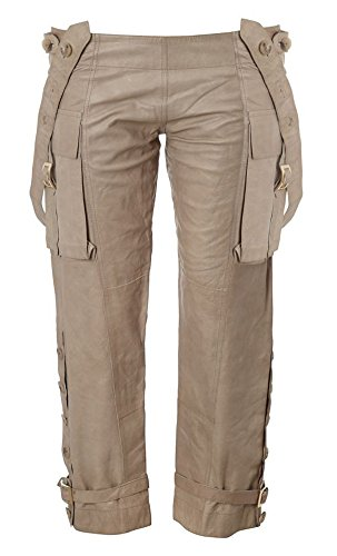 9780121206864: MARNI Cropped Cream 100% Leather Trousers (UK10 Ital 42, Cream)