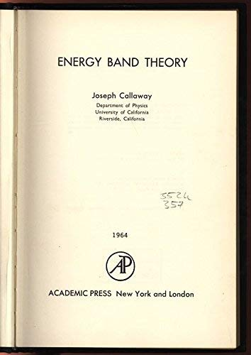 9780121552503: Energy Band Theory (Pure and Applied Physics)