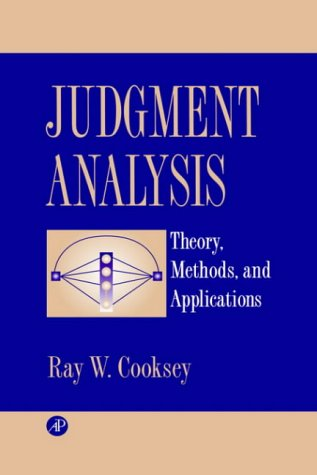 9780121875756: Judgment Analysis: Theory, Methods, and Applications (Economic Theory, Econometric, and)