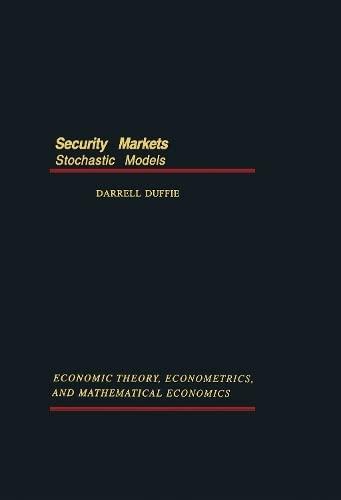 9780122233456: Security Markets: Stochastic Models (Economic Theory, Econometrics, and Mathematical Economics)