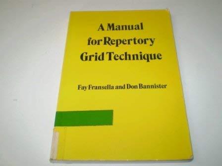 9780122654565: A Manual for Repertory Grid Technique