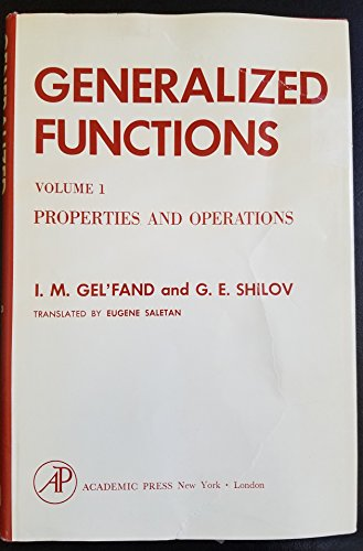 9780122794018: Generalized Functions: v. 1