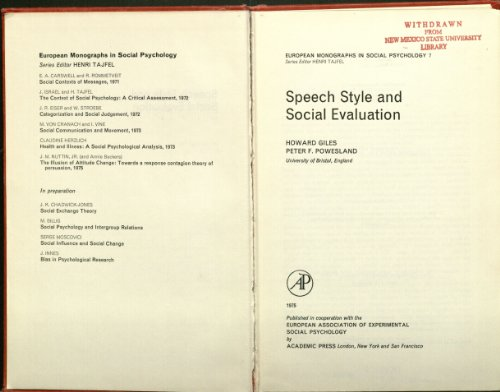 9780122837500: Speech Style and Social Evaluation (Social Psychology Monographs)