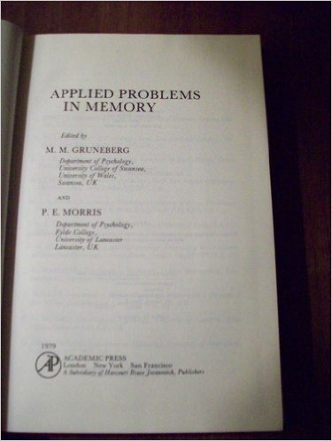 9780123051509: Applied Problems in Memory