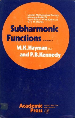9780123348012: Subharmonic Functions: v. 1 (London Mathematical Society Monographs)