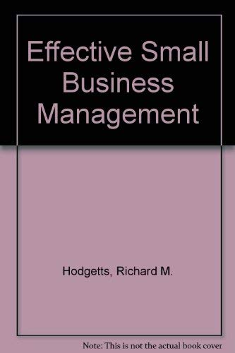 9780123510501: Effective Small Business Management