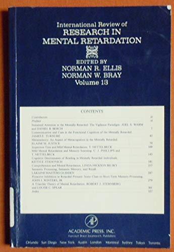 9780123682017: INT'L REV OF RESR IN MNTL RTRDTN V13 PPR, Volume 13
