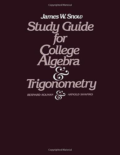 9780124178410: Study Guide for College Algebra and Trigonometry: Study Gde
