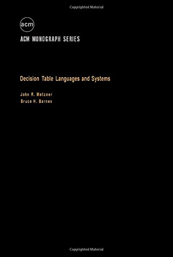 9780124920507: Decision Tables Languages and Systems (ACM monograph series)