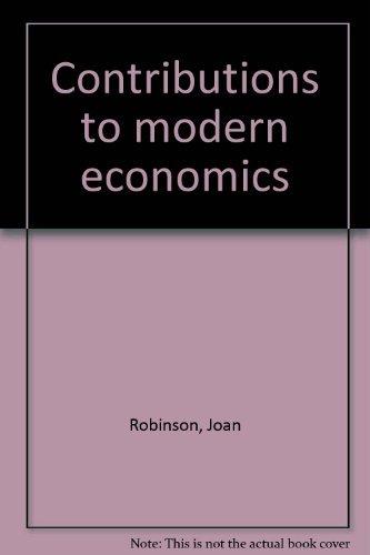 9780125905527: Contributions to modern economics