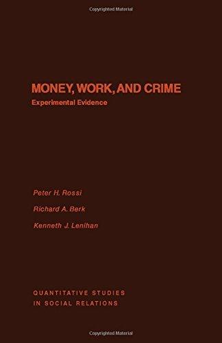 9780125982405: Money, Work and Crime: Experimental Studies (Quantitative studies in social relations)
