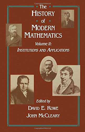 9780125996624: The History of Modern Mathematics, Volume 2: Institutions and Applications