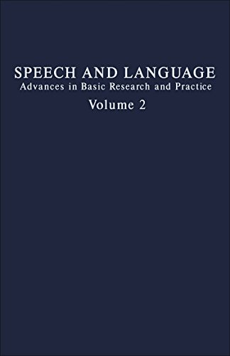 9780126086027: Speech and Language: Advances in Basic Research and Practice