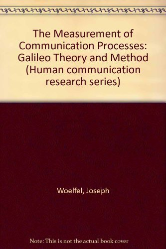9780127612409: The Measurement of Communication Processes: Galileo Theory and Method (Human communication research series)