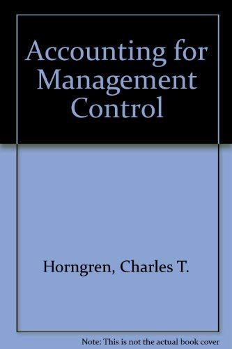 Accounting for Management Control: Horngren, Charles T.