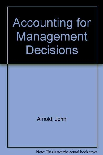 9780130019820: Accounting for Management Decisions
