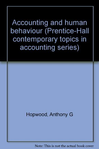 9780130020635: Accounting and human behaviour (Prentice-Hall contemporary topics in accounting series)